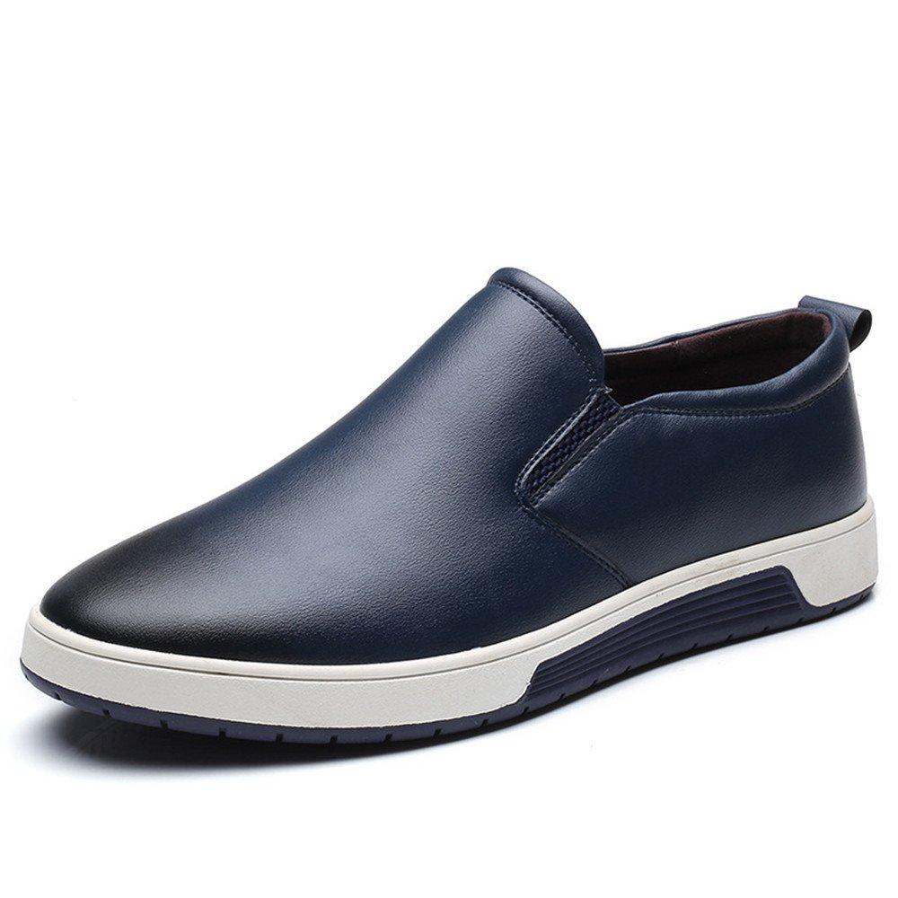 TYAW-Herren Schuhe Flache Farbe Schuhe Leder Runden Kopf Farbe Flache Flach Mund Dick Unten Blau thickening 261ea3