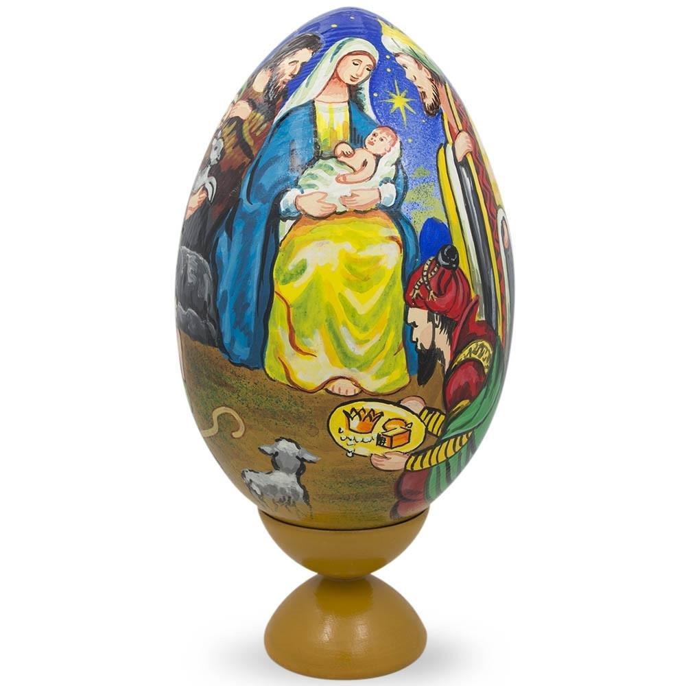 BestPysanky 7.25'' Nativity Scene with Wisemen Wooden Egg Figurine