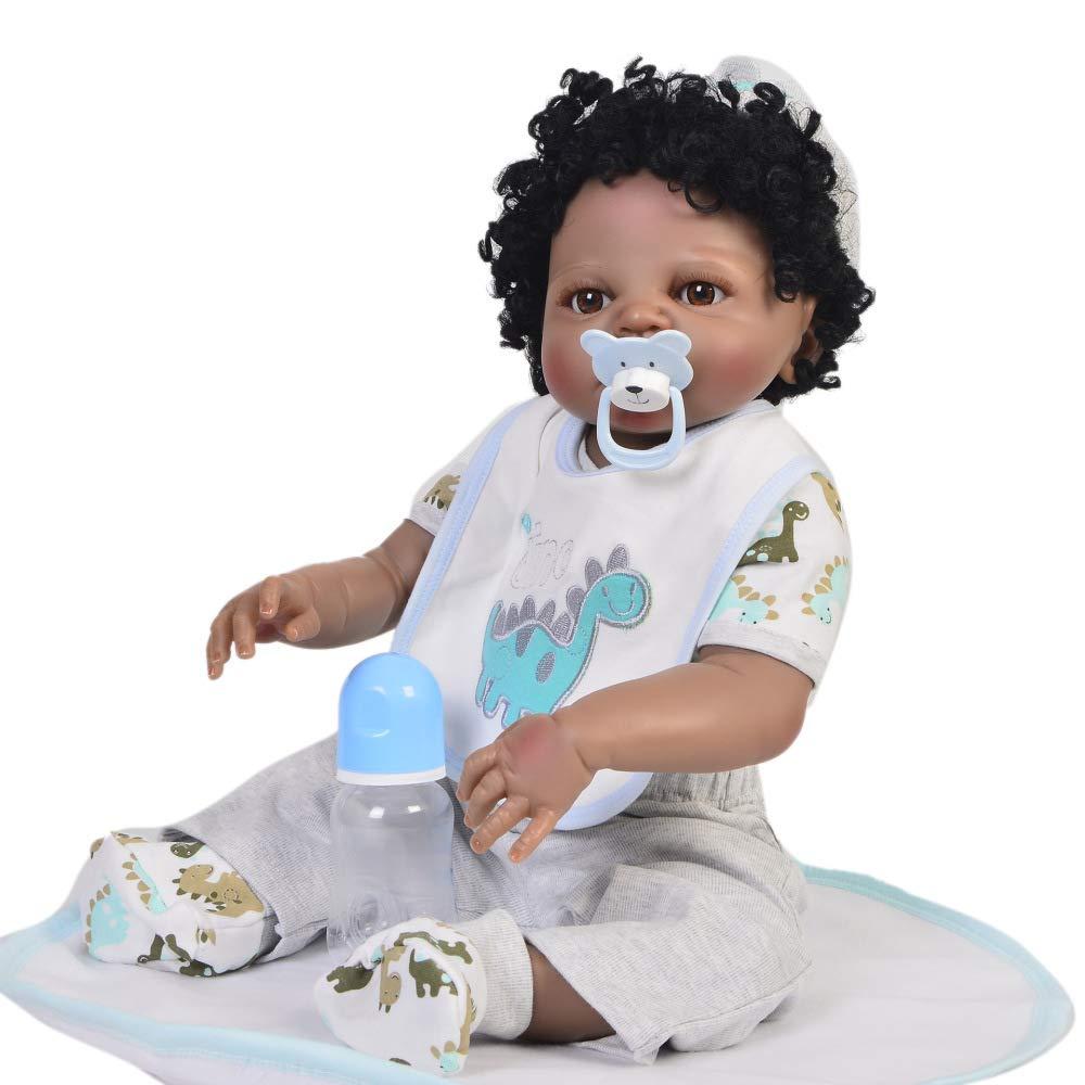 ZBYY Baby Mädchen Silikon Puppe 22Zoll 57cm Kinder Spiele Geschenk Puppe Baby Schnuller