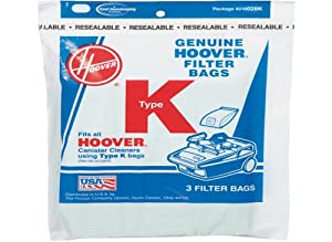 Hoover Type K Canister 2 Ply Vacuum Paper Bags 3 P