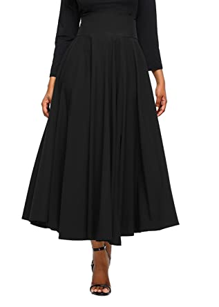 Asvivid Women s Solid High Waisted Full Midi Skirt Pocket Long Skirt  Dresses Small Black 73f6624e6