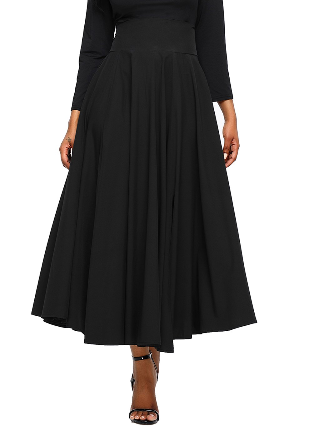 Asvivid Women's Solid High Waisted Full Midi Skirt Pocket Long Skirt Dresses Medium Black