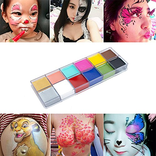 Zinnor 12 Colors Professional Face Body Paint Oil, Painting Kits Non-toxic, Face Body Paint for Adults and Kids-Great for Great for Parties, Halloween and Birthdays (Adult Halloween Birthday Party)