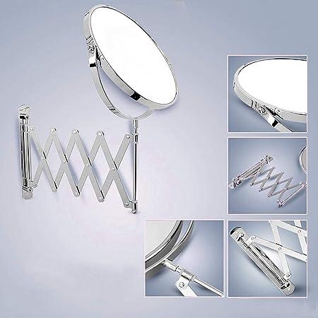 Generis Specchio per Montaggio a Parete Trucco Telescopio Estensibile Bagno Superficie Ingrandimento 3X da 6 Pollici Metallo Acciaio Cromo Argento per Rasatura Trucco