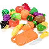 Funslane Play Food Set for Kids, 18 Pcs Pretend Play Food Cutting Kitchen Food Fruits and Vegetables