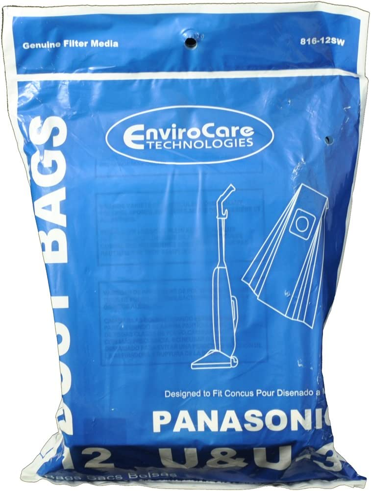 EnviroCare Type U, U3 Upright Vacuum Cleaner Bags Designed to Fit Panasonic 12 Bags in Pack