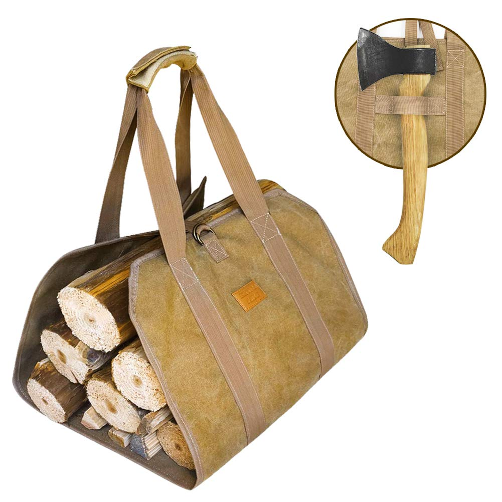 [2019 NEW DESGIN] Canvas Firewood Log Carrier, Fireplace Canvas Log Carrier Totes with Handles for Camping, Fireplace Wood Stove Accessories Padded Strap Easy Grip and Strap Belt Dust-Proof Waterproof by Extra Mile