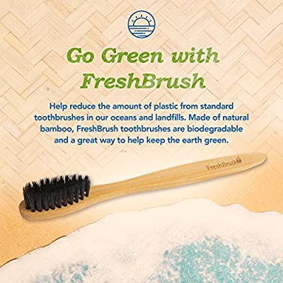 FreshBrush Bamboo Toothbrush (4 Pack) Natural Eco-Friendly Toothbrush with Soft and BPA Free Bristles