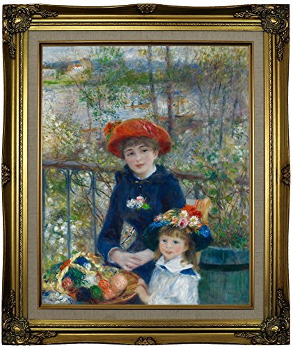 Terrace Framed Canvas (Historic Art Gallery Two Sisters (on the Terrace) 1881 by Pierre-Auguste Renoir Framed Canvas Print, 16