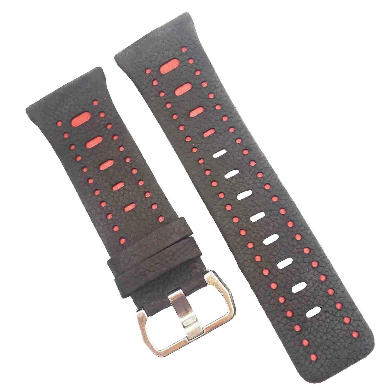 For Fitbit Ionicバンドレザー、調節可能なレザー交換用ストラップfor Fitbit Ionicスマート腕時計、アクセサリーストラップfor Fitbit Ionic Smart Fitness Watchレディースメンズ  Sanding gray+red B078KMKDLK