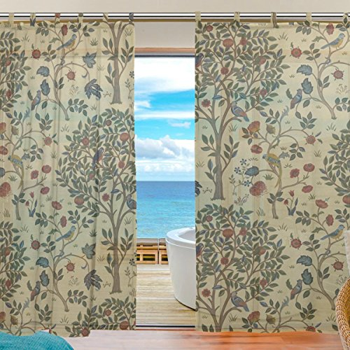 (INGBAGS Bedroom Decor Living Room Decorations William Morris Prints Pattern Print Tulle Polyester Door Window Gauze Sheer Curtain Drape Two Panels Set 55x78 inch,Set of 2)