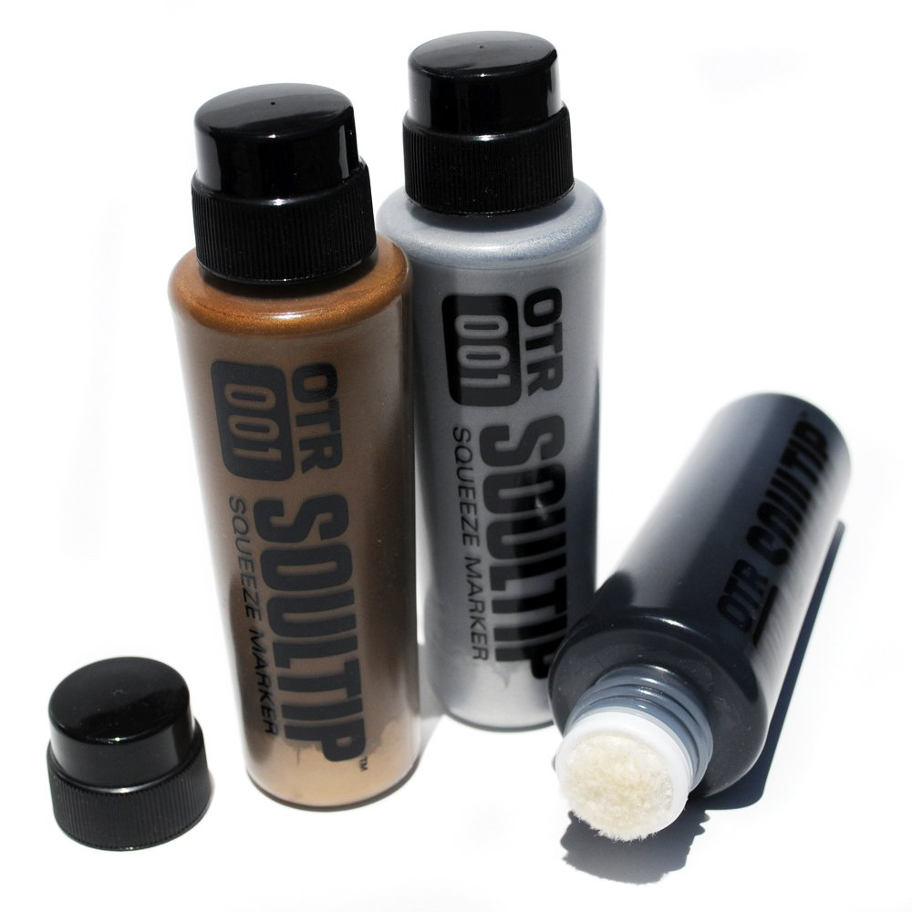OTR .001 Soultip Permanent Paint Squeeze Marker Set with Black, Gold, and Silver Colors by Run