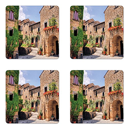 - Lunarable Tuscany Coaster Set of Four, Italian Streets in Countryside with Traditional Brick Houses Old Tuscan Prints, Square Hardboard Gloss Coasters for Drinks, Multicolor