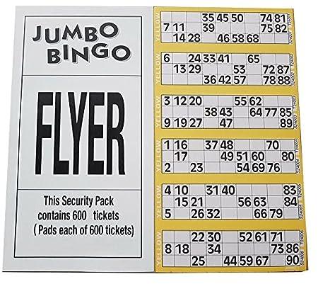 Jumbo Bingo-karten polster 600 Tickets per Polster 6 ansicht vielzahl von farben - grau Bingosupermarket