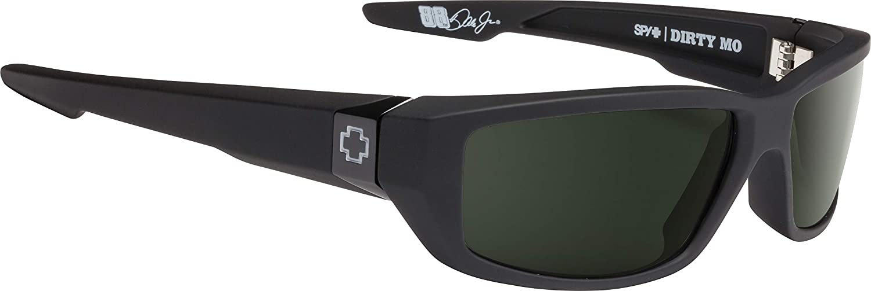 Spy Optic Dirty MO Flat Sunglasses, Soft Matte Black/Signature Happy Gray/Green Polar, 59 mm