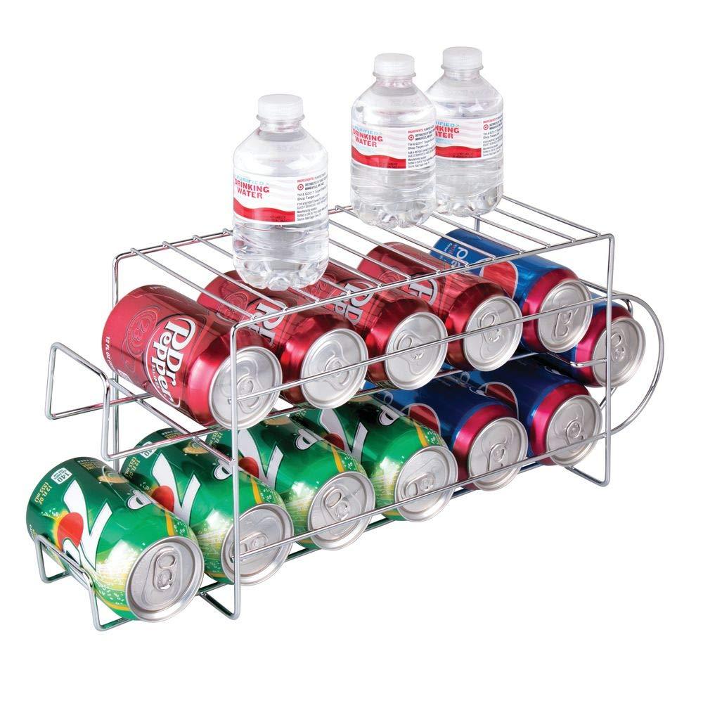 MetroDecor mDesign Distributeur de canettes – étagère de Rangement Moderne pour Sodas et boîtes de Conserve – Rangement de Cuisine en métal pour Le réfrigérateur ou l'armoire – argenté