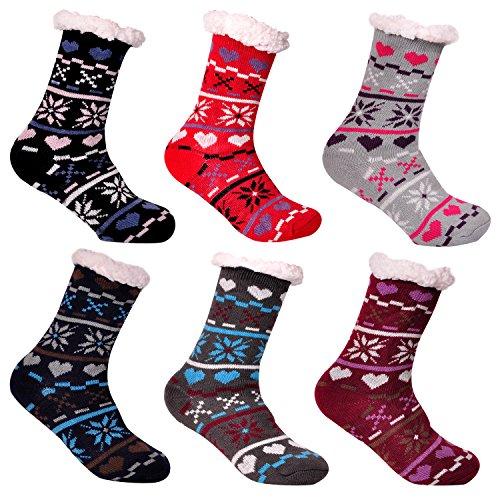3 Paar Libella Damen Bambus-Socken Kuschelsocken mit Anti Rutsch Sohle Innenfell Extra dicke und weiche Haussocken Anti Rutsch Sohle 92269 Größe 37-42