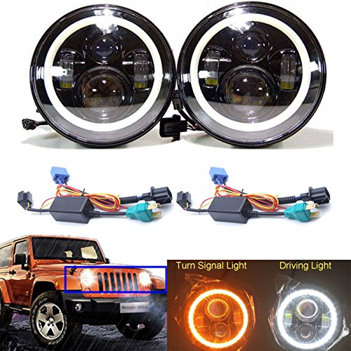 7 Inch Round Sealed Beam Headlight Halo for Trucks Jeep Wrangler JK LJ CJ TJ / Land Rover / International Harvester 4200 4300 4400 / Kenworth T2000 / Peterbilt 379 H6017/H6024 (Package of 2)