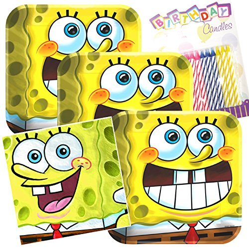 - Lobyn Value Pack Spongebob Classic Party Plates and Napkins Serves 16 With Birthday Candles
