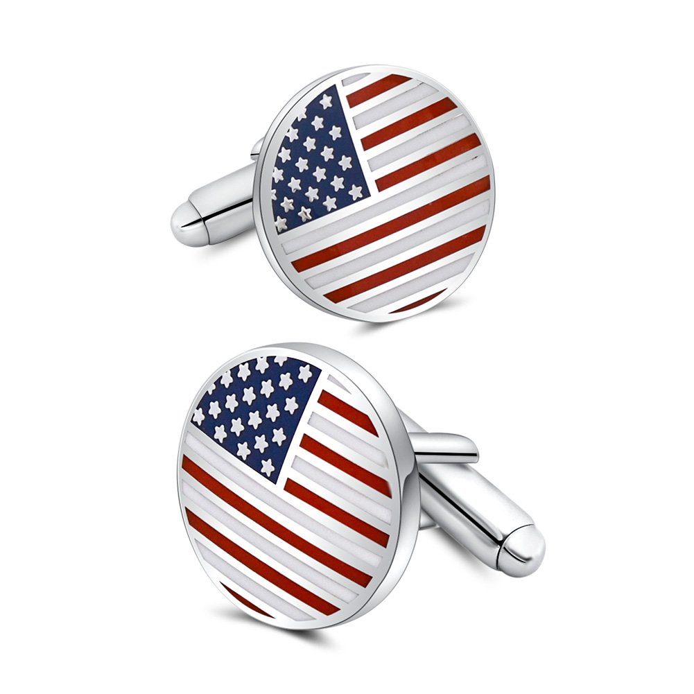 Mr.Van American Flag Cufflinks Platinum Plated Enamel USA Flag Cuff links Men's Accessories Patriotic Gifts