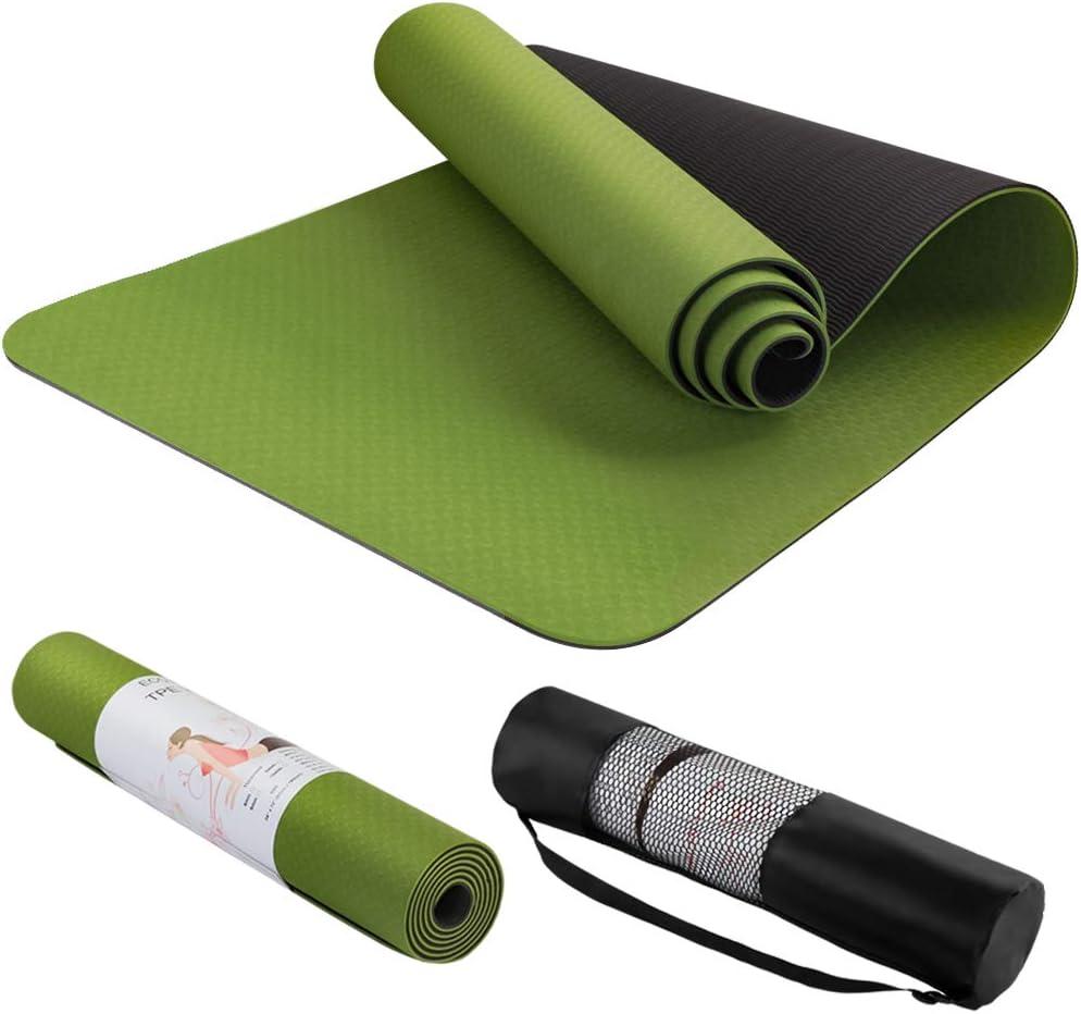 saiveina ヨガマット おりたたみ トレーニングマット エクササイズマット ピラティスマット 運動用マット Yoga Mat 両面 ゴムバンド 2色のパッド 滑り止め ストラップ 収納ケース付