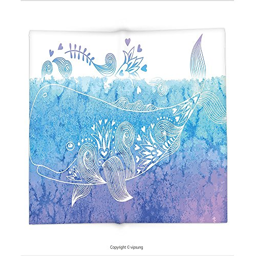 Custom printed Throw Blanket with Whale by Floral Designed Happy Big Fish Icon in Waves with Petal Bouquet Blooms Artwork Sky Blue Lavender Super soft and Cozy Fleece Blanket (Cookie Bouquet Boston)