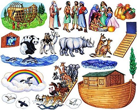 Story Time Felts Noah's Ark Bible Felt Figures for Flannel Board Stories Noah Animals Ark Toggle Precut (Adult 3.5