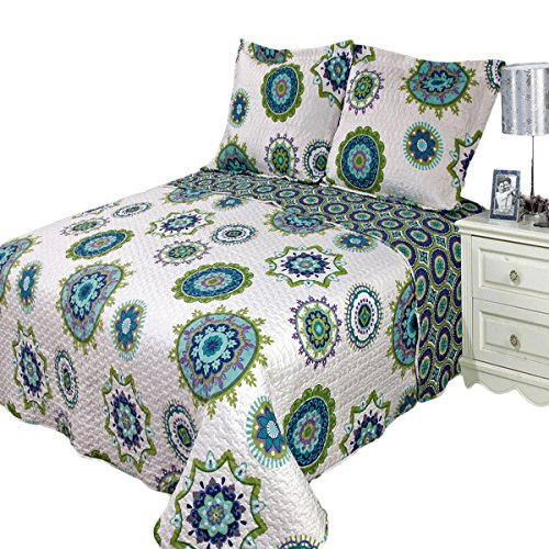 Royal Tradition Julia Cool Printed Microfiber Oversized King 3PC Quilt Set, Shades of Blue, Green and Purple