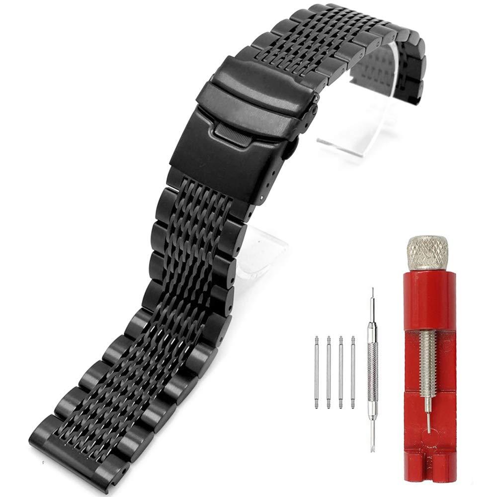 22mm Black Mesh Watch Band Premium Stainless Steel Watch Bracelets Deployment Clasp Metal Watch Straps for Men Women