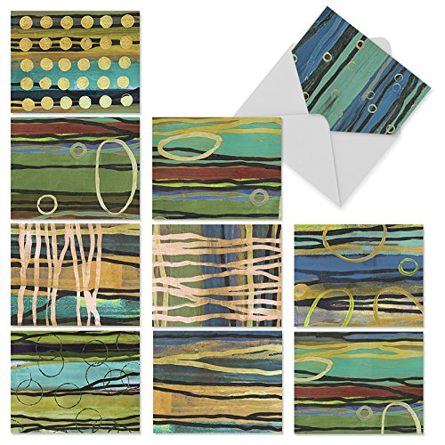 Abstract Art Blank Note (M2024sl Melbourne Stripes: 10 Assorted Blank All-Occasion Note Cards Feature Abstract Aussie Aboriginal-like Art, w/White Envelopes.)