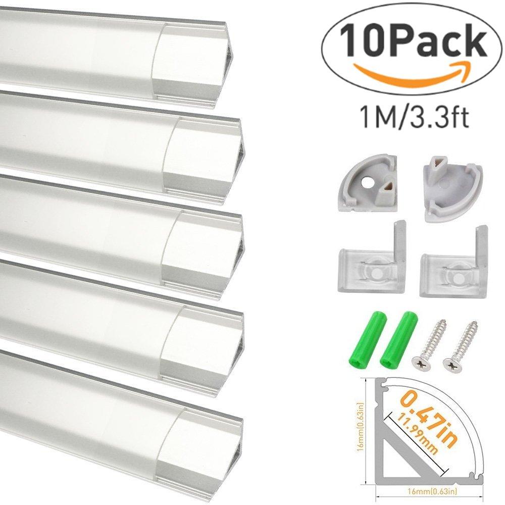 LightingWill Clear LED Aluminum Channel V Shape Corner Mounted 3.3Ft/1M 10 Pack Sliver Profile for <12mm 5050 3528 LED Flex/Hard Strip Lights with Covers, End Caps, and Mounting Clips TP-V02S10