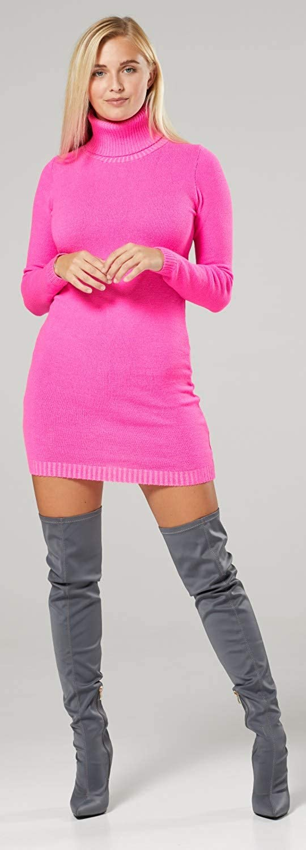 Vestito Dolcevita in Maglia Aderente Donna 888z Collo Alto Zeta Ville