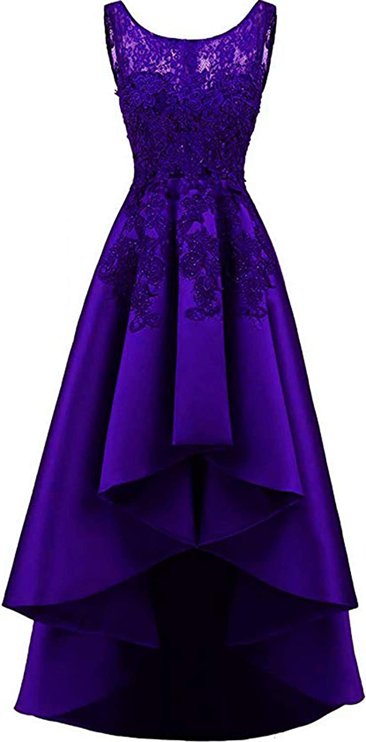 Dark Purple Rmaytiked Womens Lace Beading Hilo Wedding Party Dress Satin Prom Dress 2019 Evening Formal Gowns