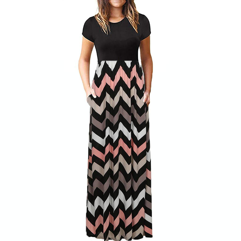 TnaIolral Women Dresses Striped Long Boho Lady Beach Summer Sundrss Skirt Black
