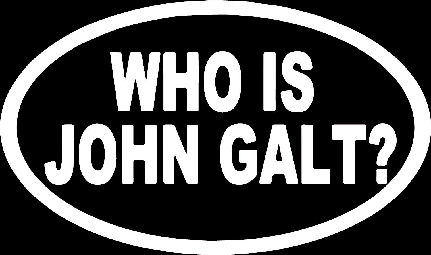 Angdest movie film who is john galt oval white set of 2 premium waterproof vinyl decal stickers for laptop phone accessory helmet car window bumper mug
