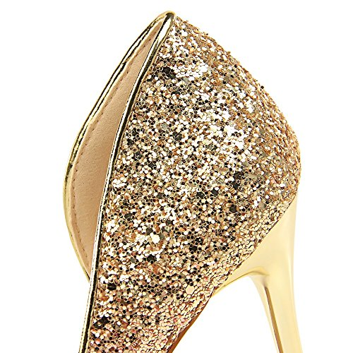 Superficial Sequined Zapatos De Moda Alto Bronce Hueco Nightclubs Exquisita Europea Xiaoqi Nueva Nightclub Tacón Americana Palabra La Color Femenina Lentejuelas Con Y Sexy wfHqZnxY4