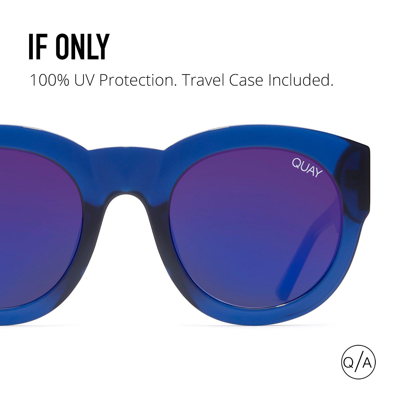 700dba6e84 Amazon.com  Quay Australia IF ONLY Women s Sunglasses Round Sunnies - Blue   Clothing