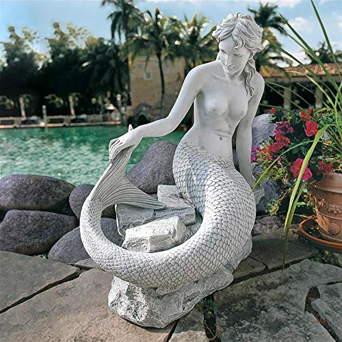 Design Toscano Daydreaming Mermaid of Langeline Cove Coastal Decor Garden Statue, 35 Inch, Polyresin, Antique Stone