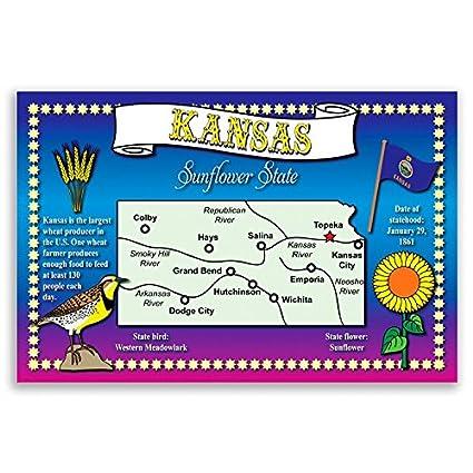 Amazon Kansas State Map Postcard Set Of 20 Identical Postcards