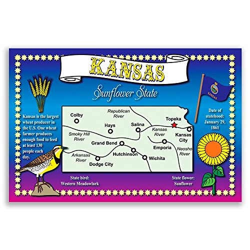 tcard set of 20 identical postcards. Post cards with KS map and state symbols. Made in USA. (Kansas Ks Postcard)
