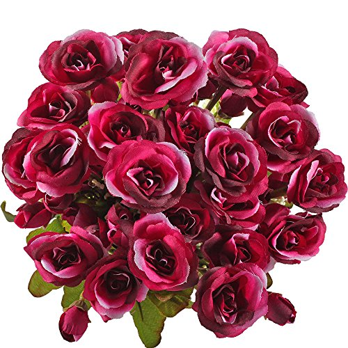 GTidea 2pcs Persian Rose Artificial Flowers Bouquet Arrangements Silk Plants Bridal Home Garden Office Table Wedding Decor Red (Aster Bouquet)