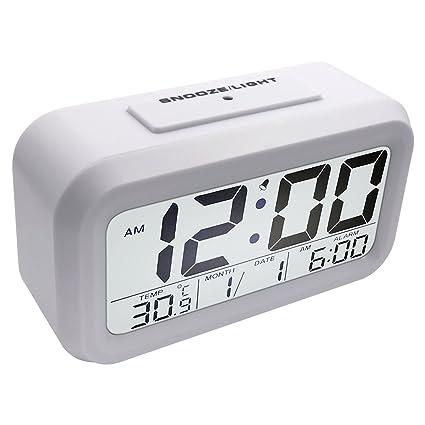 EASEHOME Reloj Despertador Digital, Relojes Despertadores Digitales Alarma Despertador con Calendario Temperatura Snooze Reloj Alarma