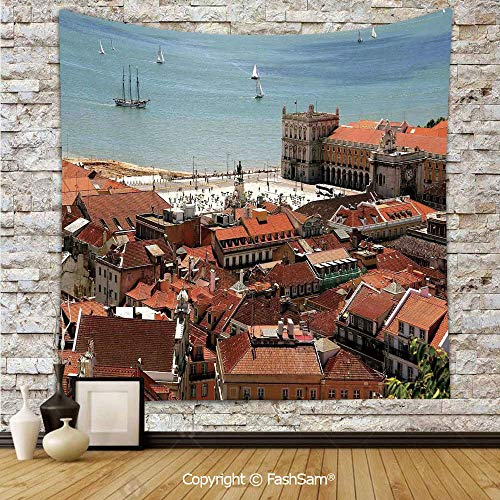 FashSam Polyester Tapestry Wall View of Central Lisbon Portugal with Rooftops and Sea Old Town Nostalgic City Deco Hanging Printed Home Decor(W39xL59)