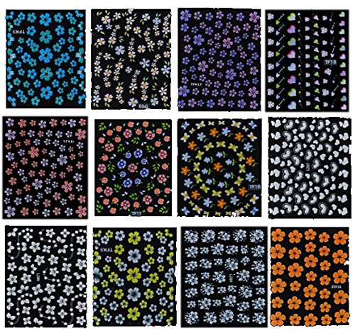 50 Sheet Mix Color Floral Design 3D Nail Art Stickers Decals Nail Art Decoration for $<!--$6.78-->