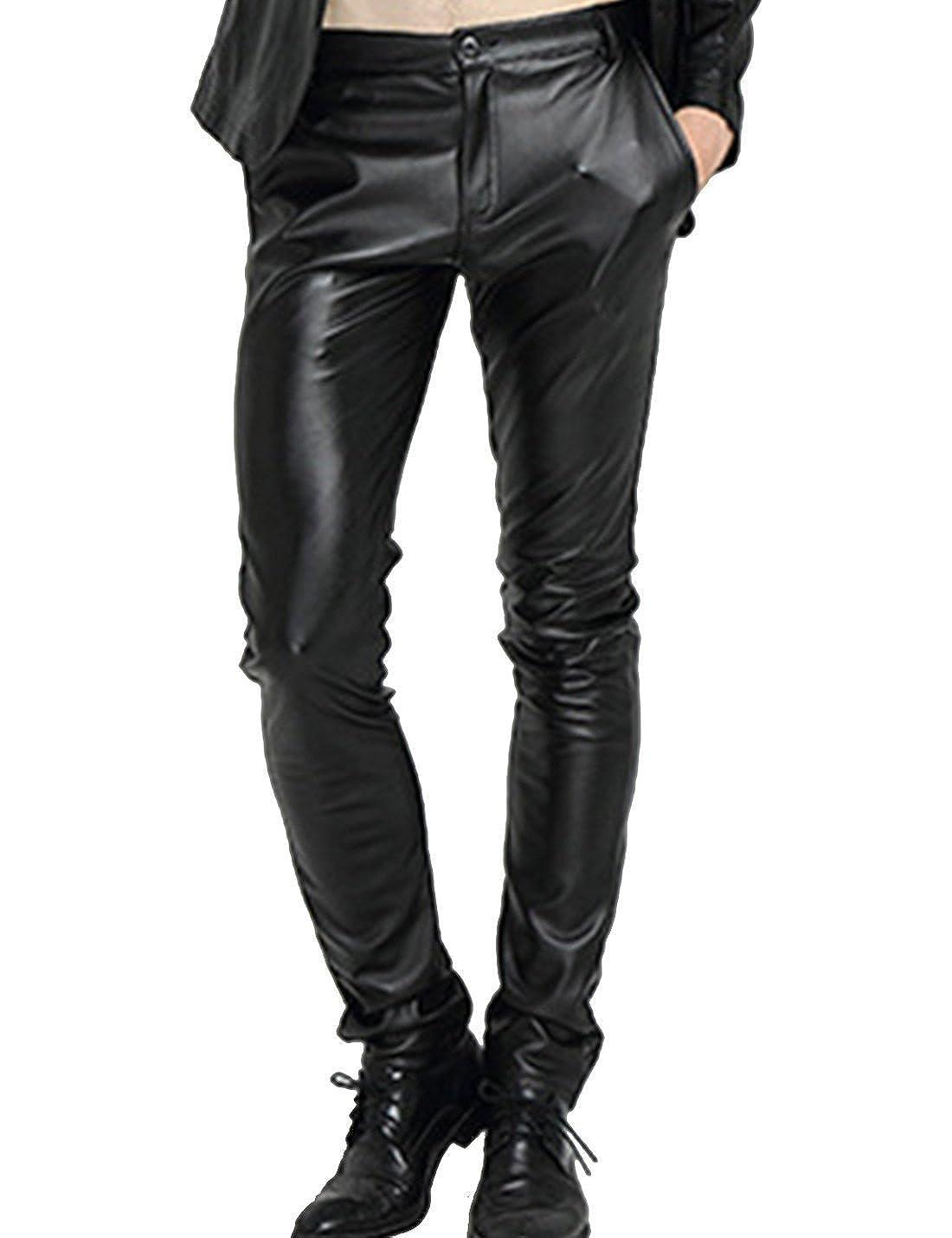 fcf3b1498c8d Yeokou Men s Punk Skinny Slim-Tapered Moto Straight Leg PU Faux Leather  Pants at Amazon Men s Clothing store