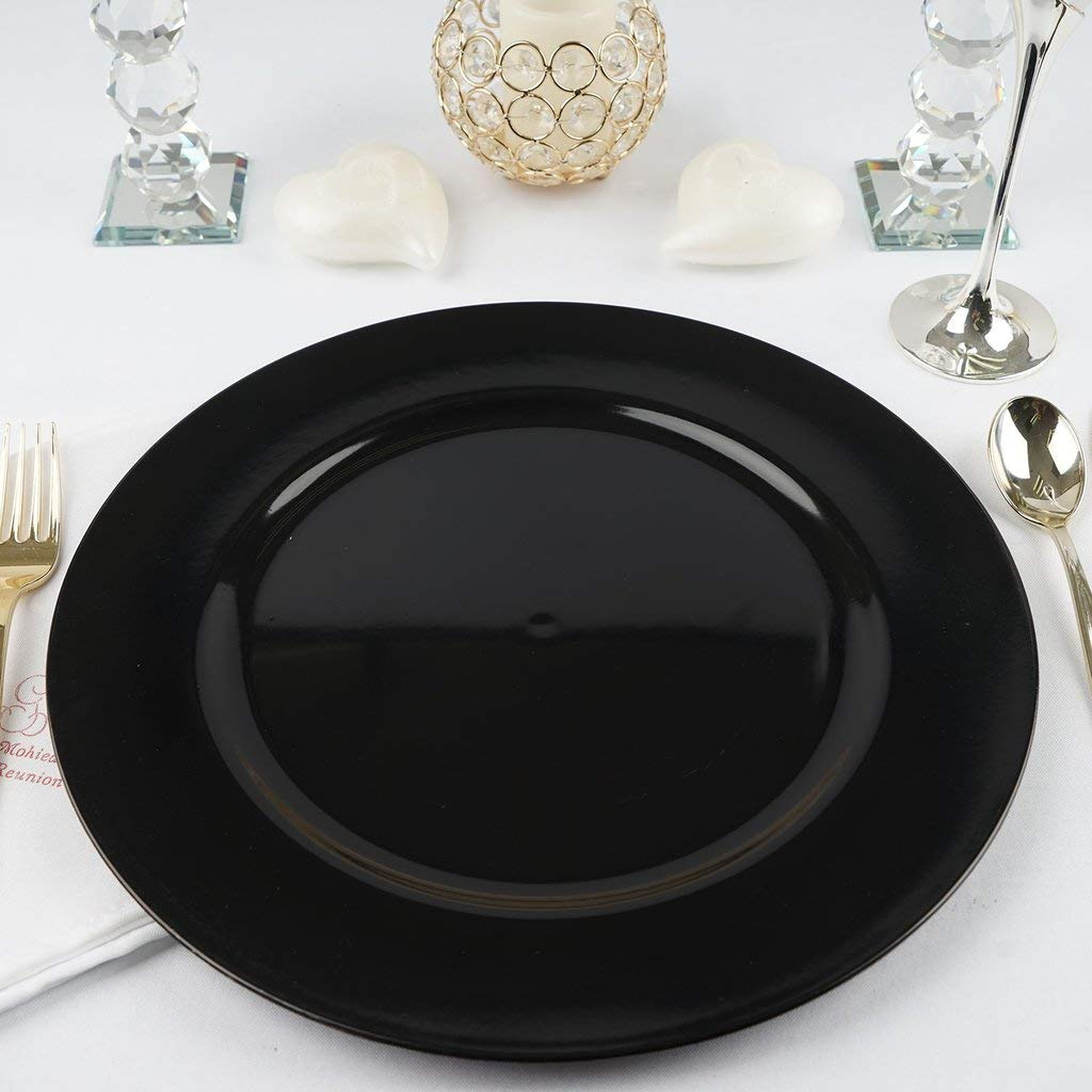 Efavormart 6 pcs 13'' Black Round Charger Plates for Tabletop Decor