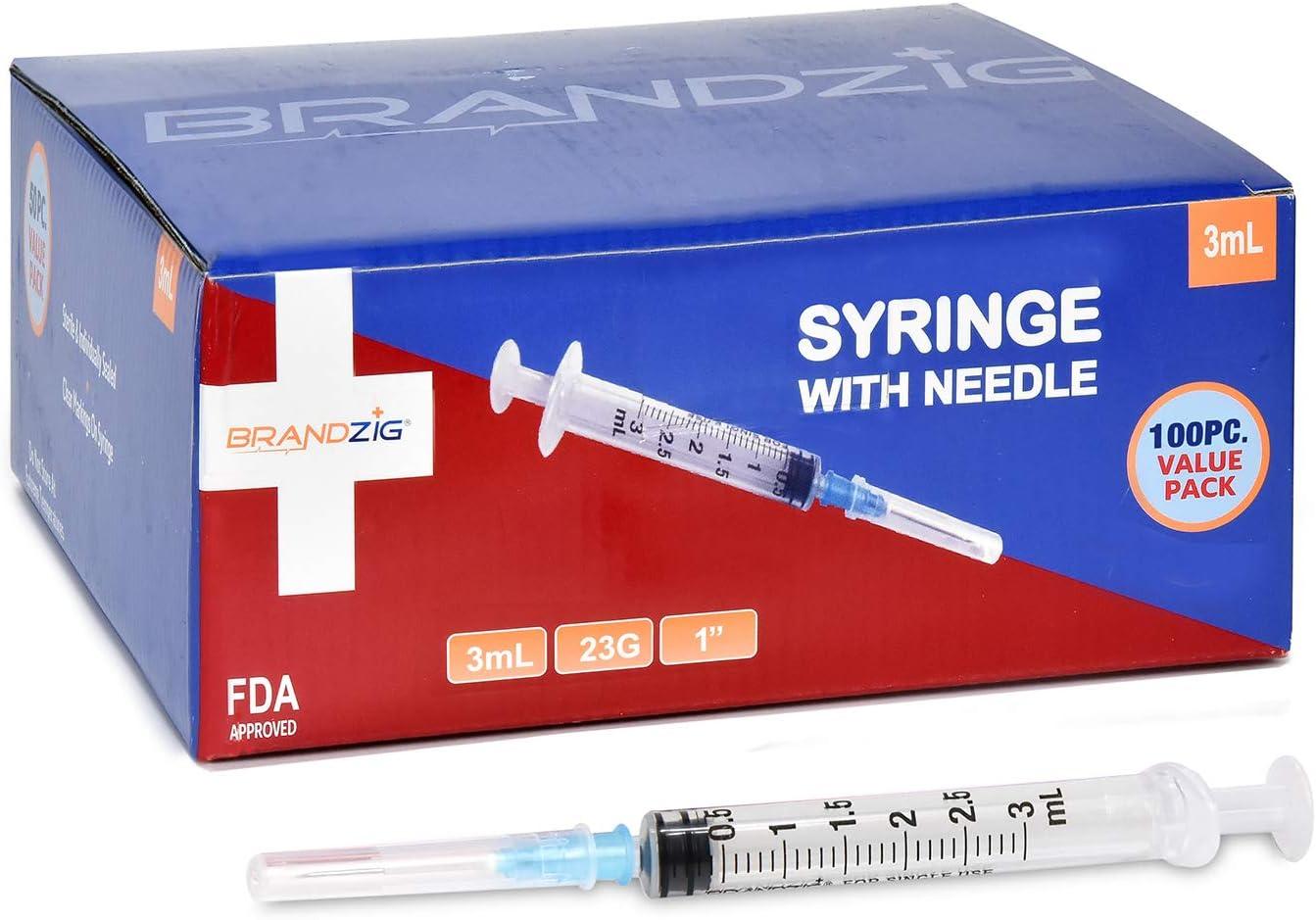 Brandzig 3ml Syringe with Needle - 23G, 1