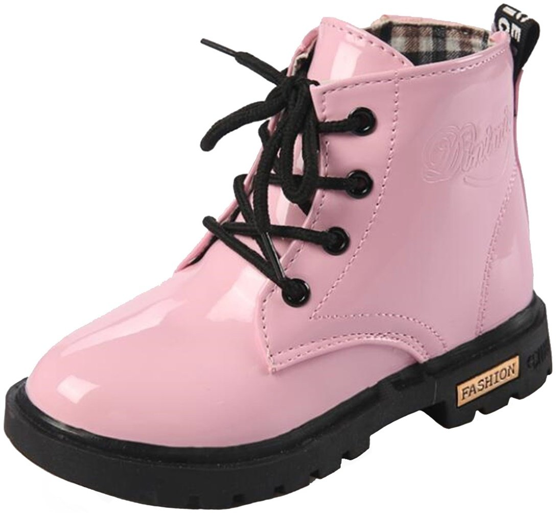 PPXID Boy's Girl's Waterproof Lace-up Boots(Baby boy/Baby Girl/Toddler/Little Kid/Big Kid)-Pink 12 US Size