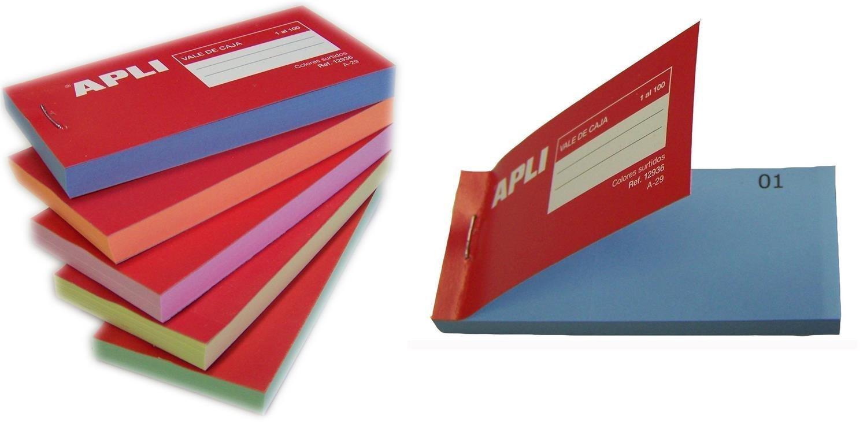 APLI 12936 - Talonario vales de caja, colores surtidos, 1 unidad