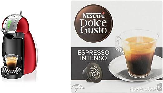 Pack Krups Dolce Gusto Genio 2 KP1605 - Cafetera de cápsulas, 15 bares de presión, color rojo + 3 packs de café Dolce Gusto Espresso Intenso: Amazon.es: Hogar